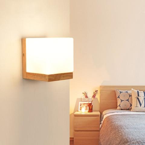 dx luzes de parede de madeira moderna quarto lampada de parede corredor wandlamp cama luz