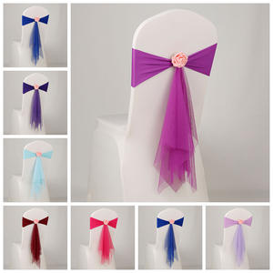 12 Colours spandex sash with rose ball artifical flower and organza chair sash wedding lycra bow tie band wholesale