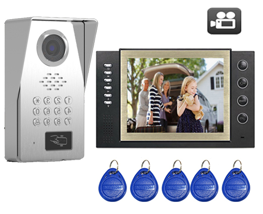 SMTVDP TFT LCD Color 8Video Door Phone Doorbell w/t SD Card Slot IR Intercom Home Security Video System FRID Camera 1V1