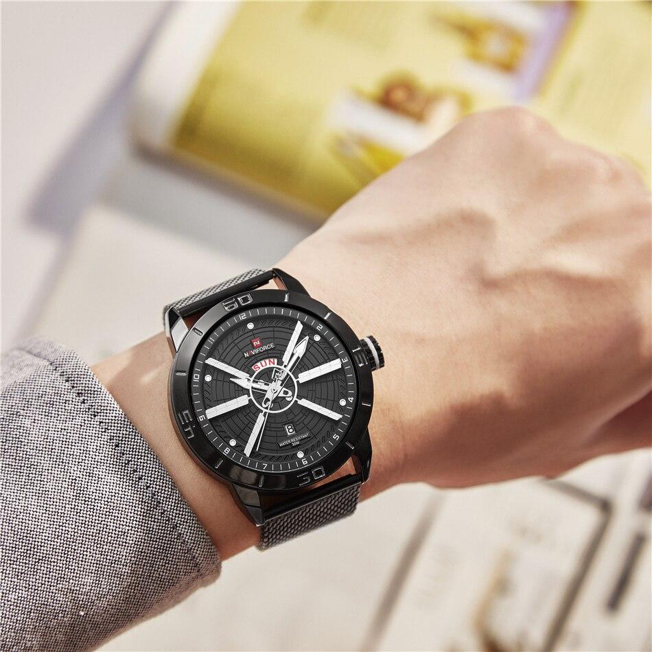NAVIFORCE Mens Watches Top Brand Luxury Quartz Watch Men Full Steel Men Watch Sport Fashion Business Watches Relogio Masculino 25