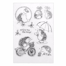 Silicone Transparent Clear Hedgehog Scrapbook Stamp Seal DIY Embossed Die For Paper Card Craft Making Fun Play Book Animal Decor cute christmas socks transparent seal seal diy scrapbook album decoration card making transparent seal seamless seal