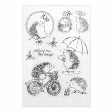 Silicone Transparent Clear Hedgehog Scrapbook Stamp Seal DIY Embossed Die For Paper Card Craft Making Fun Play Book Animal Decor(China)