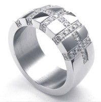 Width 11MM Titanium Steel Inlay Crystal Cross Ring For Men Free Shipping