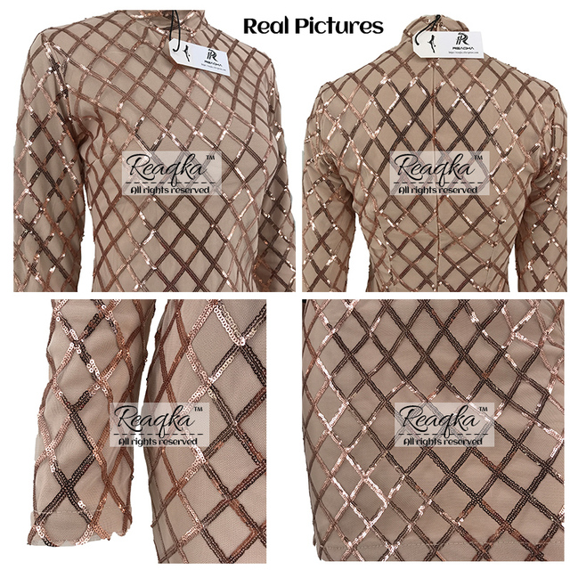 Autumn Winter Black Long Sleeve Sheath Gold Pattern High Neck Party Dresses 3