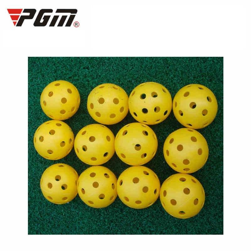 Pgm 2pcs Yellow Golf Practice Balls Lightweight Plastic Airflow Hollow Holes Golf Ball Training Tennis/Golfer Supplier D0715