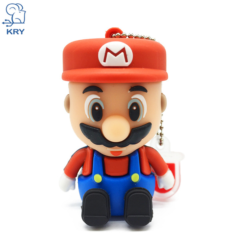 NEW Mario Cartoon Flash Thumb Drive 2.0 Memory Card 4GB 8GB 16GB 32GB 64GB Pen Driver Bracelet Flash USB Keychain Gift Preferred
