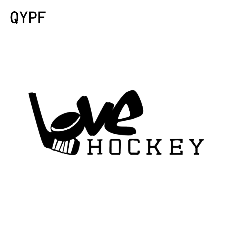 QYPF 16.5*6.2CM Interesting Love Hockey Player Decor Vinyl Car Stickers High Quality Accessories C16-0547