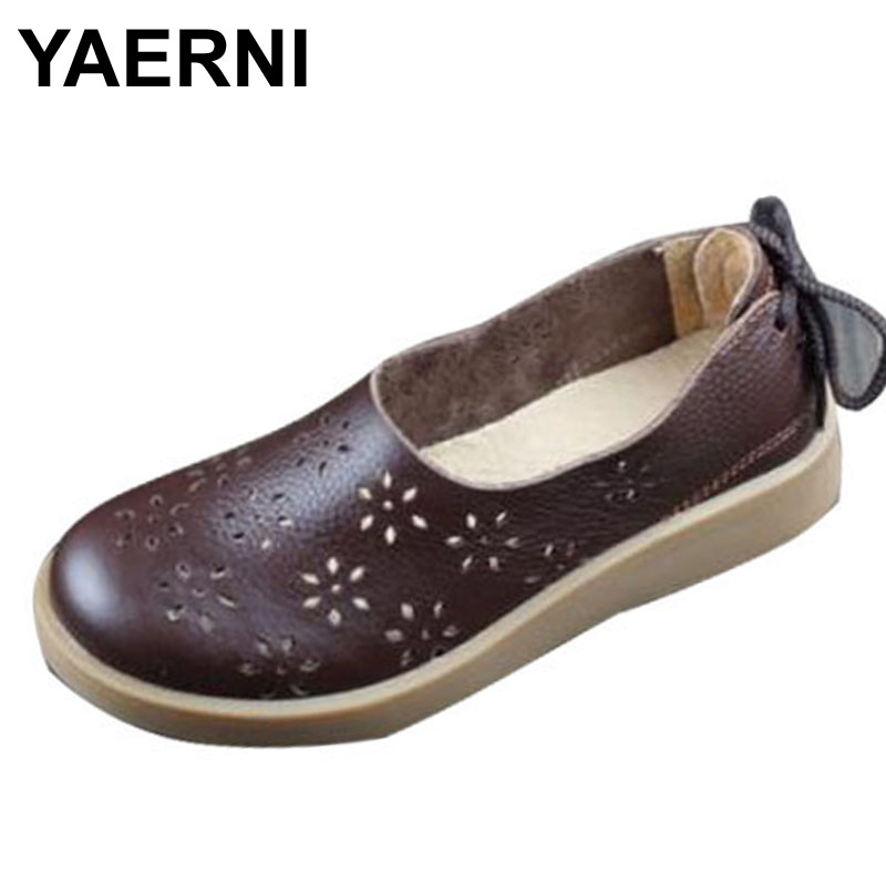 YAERNI Women Shoes Flat Hollow Out Breathable Summer Shoes 100% Authentic Leather Round toe Slip On Flats Female Footwear 2018 new women shoes ballet flats fashion cut outs flat women shoes sweet hollow out summer female breathable casual shoes