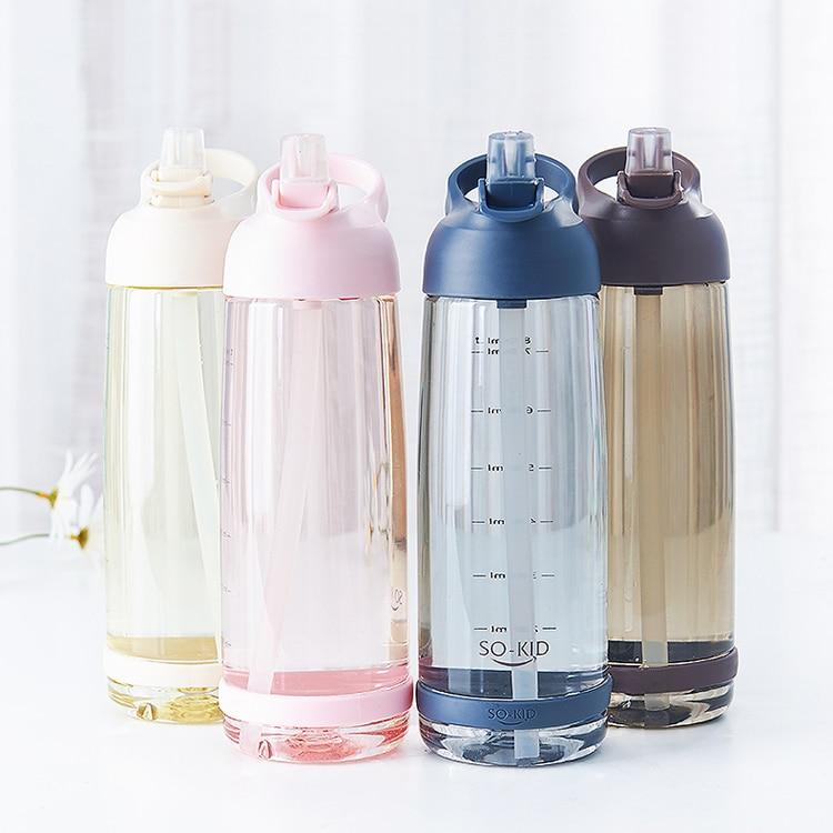 Große Kapazität Stroh Sport Wasser Flaschen Mit Griff BPA Freie Protable Gesunde Kunststoff Outdoor Reise Flasche Mein Trinken Flasche