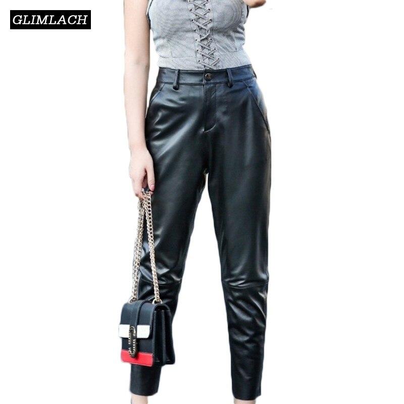 2019 crayon en peau de mouton pantalon femmes en cuir véritable taille haute Slim cheville longueur pantalon dame décontracté vrai cuir pantalon