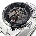 2016 moda hombres de acero inoxidable reloj esqueleto masculino sewor marca con estilo clásico de pulsera mecánico automático reloj del negocio del deporte