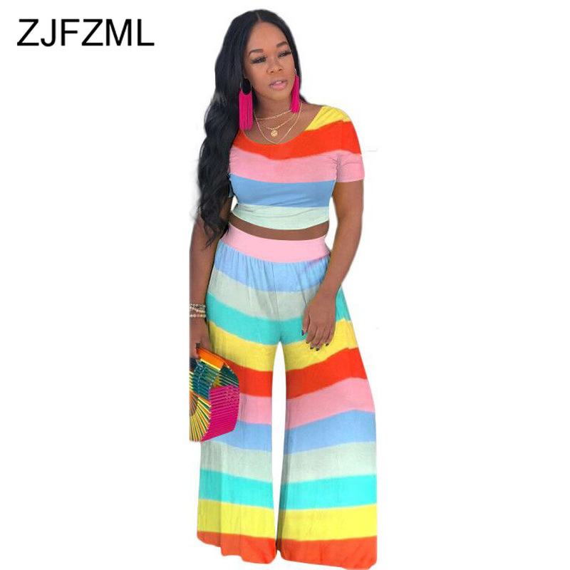 Colorful Striped 2 Piece Set Summer Outfits For Women Short Sleeve Crop Top And Boot  Cut Pants Sweatsuit Casual Plus Size Sets