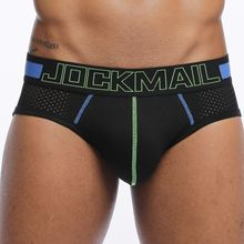 JOCKMAIL Brand Men Underwear Briefs Slip Sexy Hollow Mesh Shorts Cueca Gay Sleepwear Male panties Sexy! Breathable Crotch Cotton