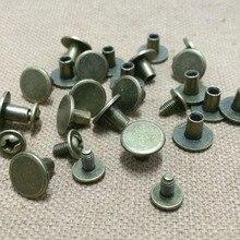 100 Sets 10X7 MM Antike Bronze Runde Flache Spikes Metall Flache Nieten Nieten Screwback Spots Kegel Leder Handwerk Spikes Für DIY Herstellung