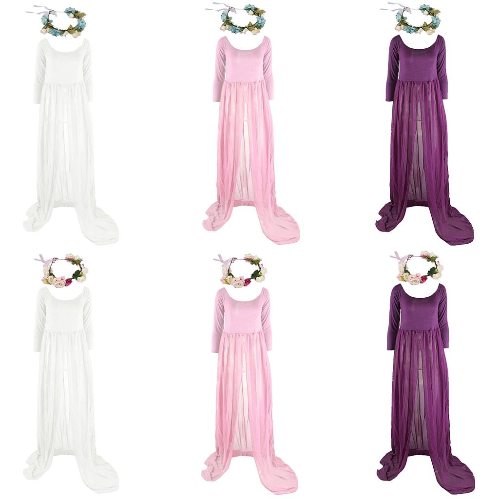 7f93e2aede228 Sexy Pregnant Women Maternity Dress Gown Photo Prop Photoshoot + Flower  Headband