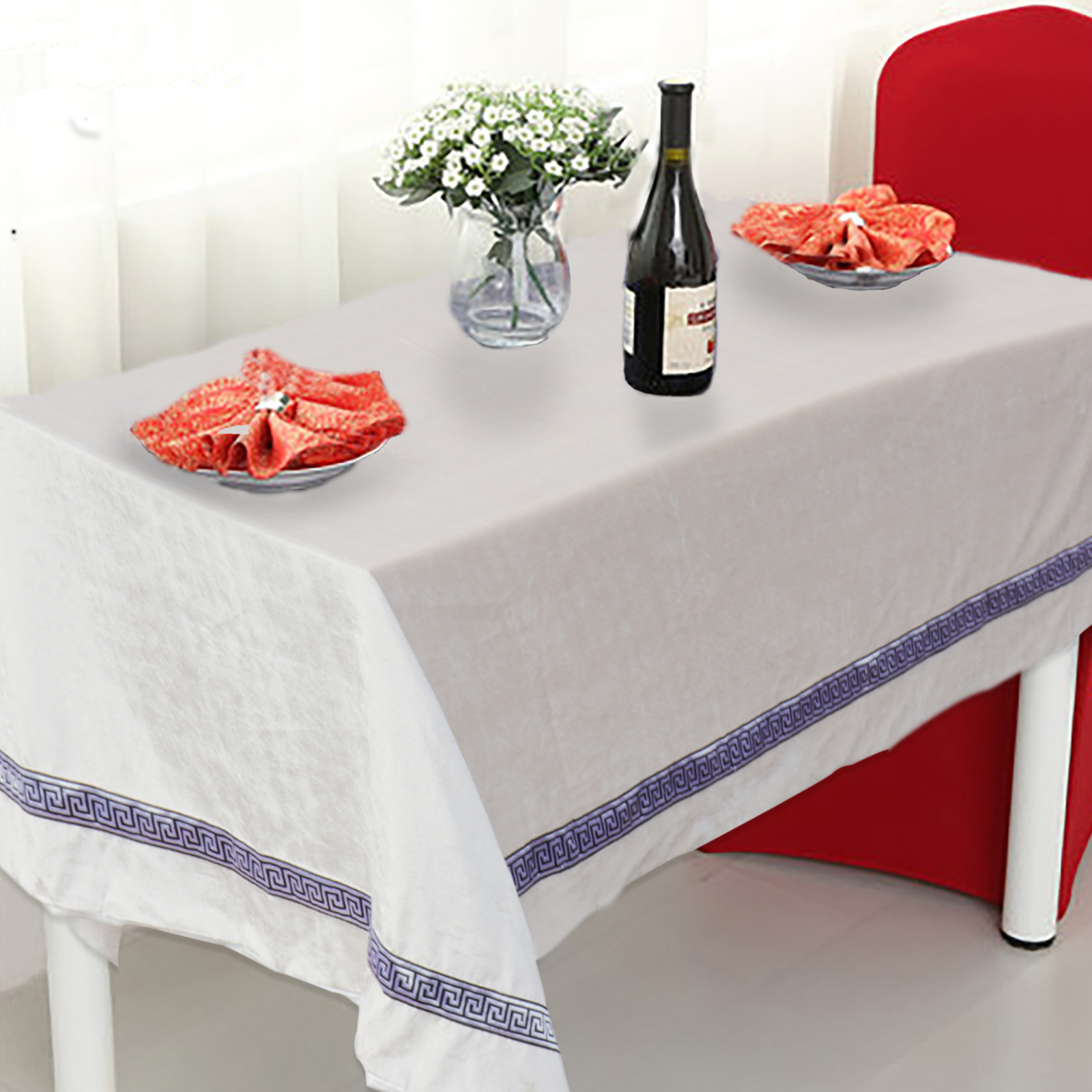 European Satin Tablecloth Vintage Table Runner Wedding Party Event Banquet Home Table Dinner Decoration Supplies