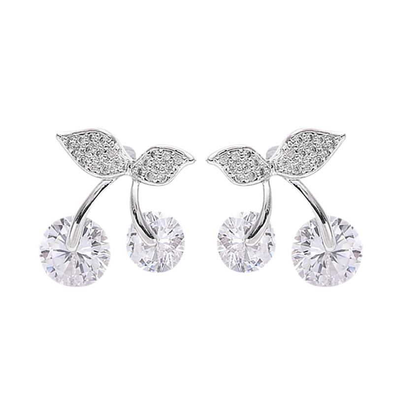 Fashion Stud Earring White Cherry Shape Zircon 925 Sterling Silver Jewelry For Women Birthday Gifts Cute Double Earrings