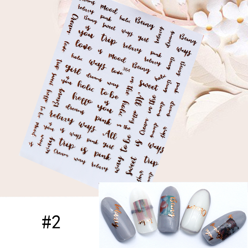 Image 3 - 1 Sheet Star Alphabet Geometry Nail Sticker Rose Gold Feather Water Decal Manicure DIY Decoration Nail Art Transfer Sticker-in Stickers & Decals from Beauty & Health