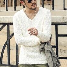 Пуловер Для мужчин свитер с v-образной горловиной Для мужчин бренд Slim Fit Пуловеры свитер для повседневной носки трикотаж тянуть Homme высокое качество 2016 Новая Мода