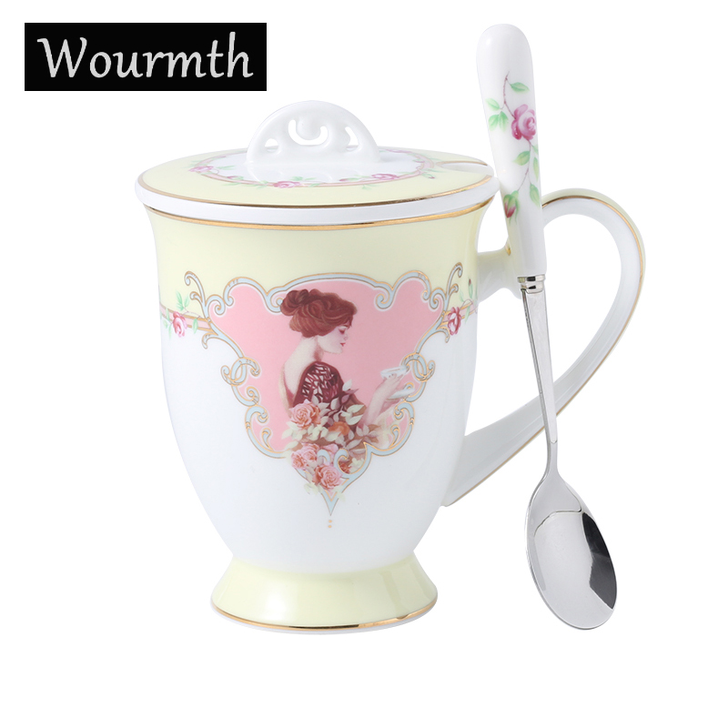 Wourmth 330ml EuropeanCeramic Teacup Creative Mugs Bone China Water Cups Office Coffee Cup Set With Lid Spoon Drinkware Gifts