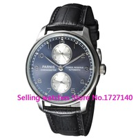 Parnis 43mm Blue dial mechanical Power Reserve Automatic steel men's watch
