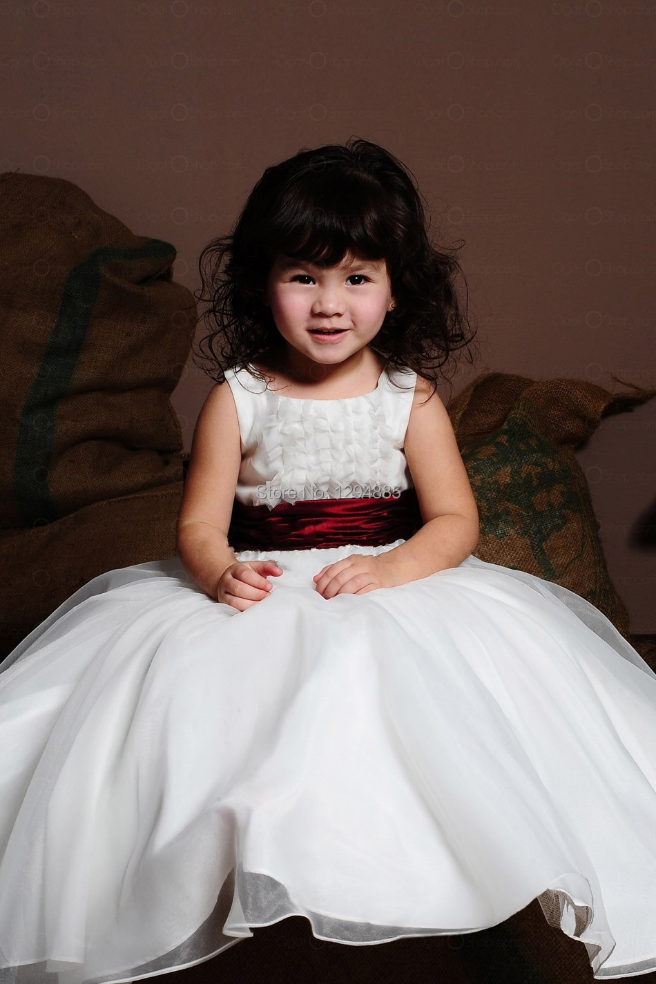 2015 Hot Sale Lovely Ball Gown White Organza Flower Girl Dress With