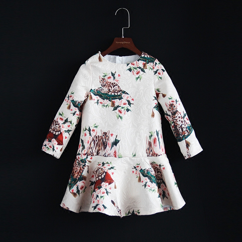 Autumn children clothing Women fashion mom baby princess girl cat infantile dress family look kids clothes sister matching dress brand summer mom princess girl kids dress infantile children baby girls lady woman women mother and daughter matching dress 809