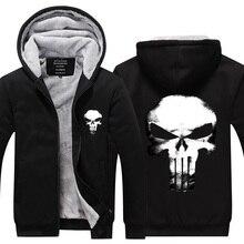 2017 New arrival mens hoodie Fashion hoodies winter thicken fleece punisher superhero Novelty hoodies thicken US EU Plus Size