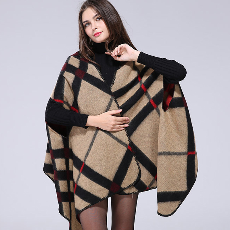 2017 fashion cachecol autumn winter poncho plaid vintage blanket womens scarves shawl cape. Black Bedroom Furniture Sets. Home Design Ideas