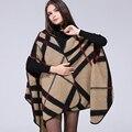 2017 Moda Cachecol Poncho Outono Inverno Cobertor Xadrez Do Vintage Das Mulheres Lenços Xale Capa Cachecol de Caxemira Tricot Feminino Poncho