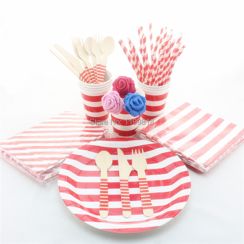 100 Sets Pink Green Blue Red Striped Party Supplies Tableware Eco friendly Wedding Paper Plates Cups Napkins Bags Straws-in Disposable Party Tableware from ...  sc 1 st  AliExpress.com & 100 Sets Pink Green Blue Red Striped Party Supplies Tableware Eco ...
