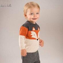 DB5426 dave bella/осенний пуловер из хлопка для новорожденных мальчиков, топы, Одежда для младенцев, вязаный свитер для малышей