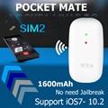 Adaptador Bluetooth Dual SIM Dual Standby Sem Jailbreak para iOS7-10.2 Bolso Gmate Companheiro 3G 1600 mAh Bateria de Longa Espera