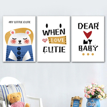 Cartoon Bear Quotes Watercolor Minimalism Wall Art Canvas Painting Nordic Posters And Prints Pictures Kids Room Home Decor