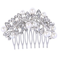 BELLA Fashion New Design Oval Drop Leaf Bridal Hair Comb Pin With Simulated Ivory Pearl Austrian