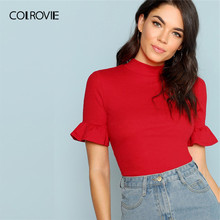 COLROVIE Neon Red Stand Collar Ruffle Cuff Rib Knit Elegant Women T Shirt 2019 Summer Green Slim Basic Tee Orange Ladies Tops(China)
