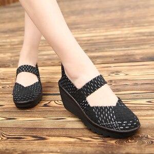 Image 2 - 2020 נשים קיץ פלטפורמת נעליים לנשימה בעבודת יד ארוג דירות נעלי אופנה נעלי ספורט נשים רב צבעים סנדלי גודל גדול 42
