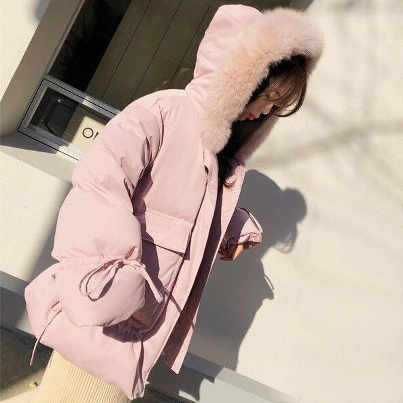 Manteau À Chaud Noir Green Veste Style Naturel pink Lâche Parka Fourrure Femmes Canard 2018 Col Duvet Femelle Réel Down light D'hiver Capuchon Nouveau Blanc De O1WTgng