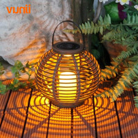 Yunji Waterproof IP65 1LED Solar Powered Candle Lantern With Flickering Amber LED Rattan Light Outdoor Decorative