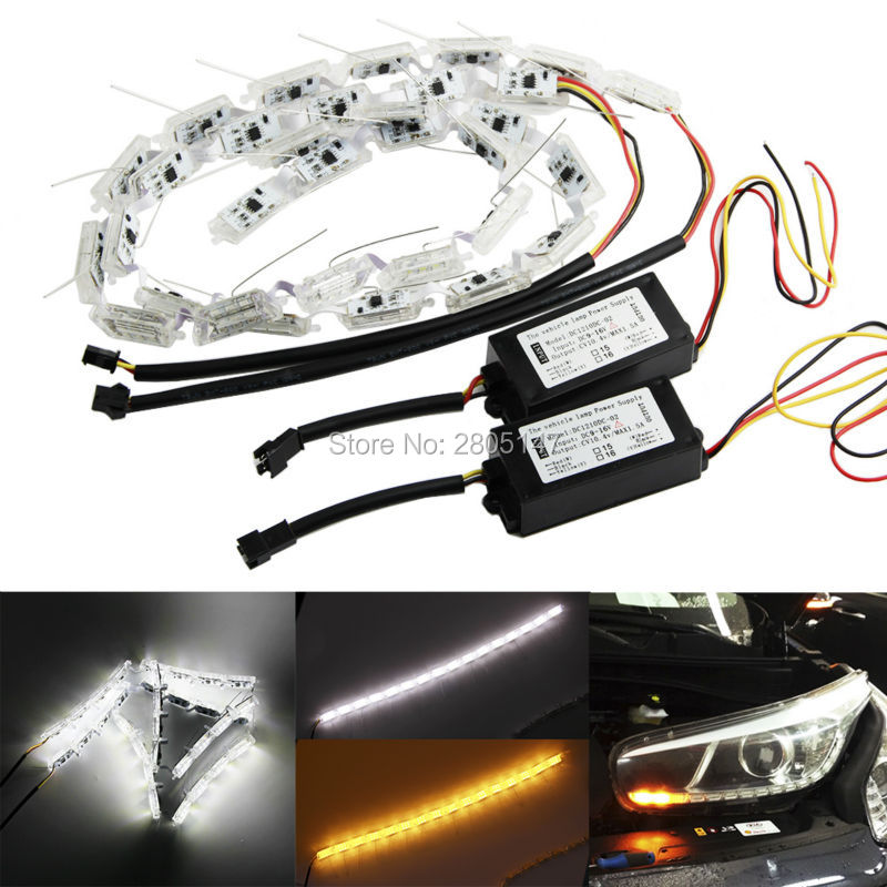 NEW Crystal Flowing led DRL day light high power flexible led daytime running light turn light white/amber stretchable люстра накладная 06 2484 0333 24 gold amber and white crystal n light