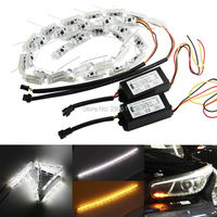 Flexible LED Strip Switchback Car DRL LED Daytime Running Light Turn Signal Light Flowing Yellow Steady