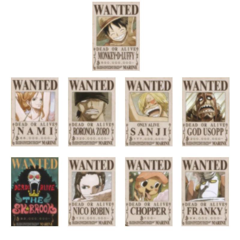9 Pieces Per Set Anime One Piece Straw Hat Pirates Bounties Poster Wanted Luffy Zoro SANJI NAMI Chopper Wall Print Decor Sticker