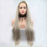 Fantasy Beauty Blonde Dark Roots Ombre Light Blonde Color Daily Makeup Synthetic Lace Front Wigs heat Resistant Firber