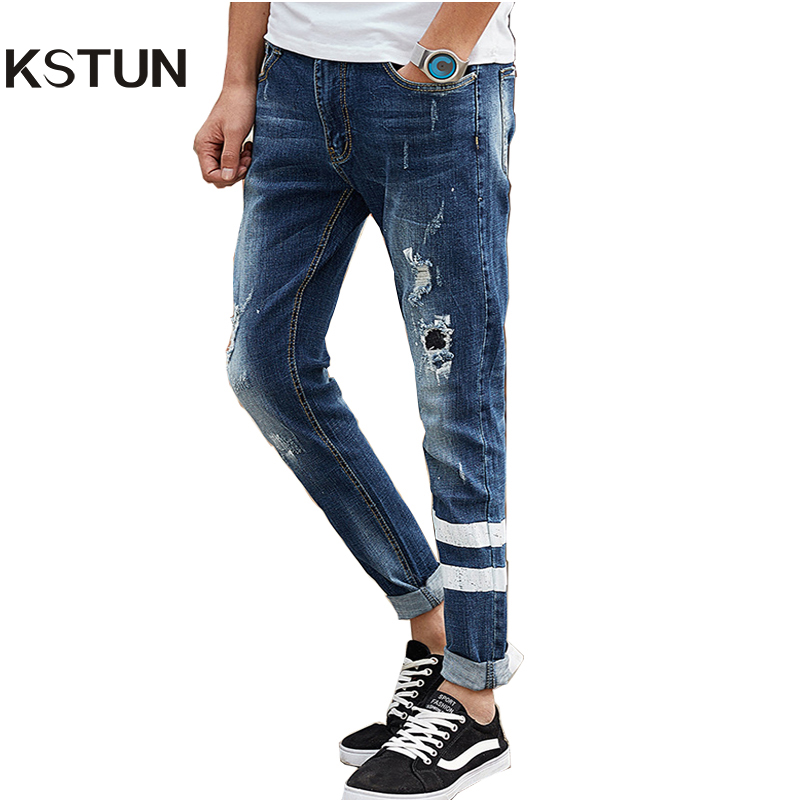 Men's Cropped Jeans Korean Style Ripped Broken Slim Fit Striped Pencils Pants Light Blue Hip Hop Clothing For Men Biker Jeans 2017 skull character designer jeans men tapered slim europe american style blue pencils retro grey vintage ripped broken pants