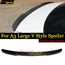 цена на Fits For Audi A3 S3 Sedan V style Highkick True Carbon fiber Rear trunk spoiler wing A3 S3 wing Rear Trunk Spoiler Lip 2013-2018
