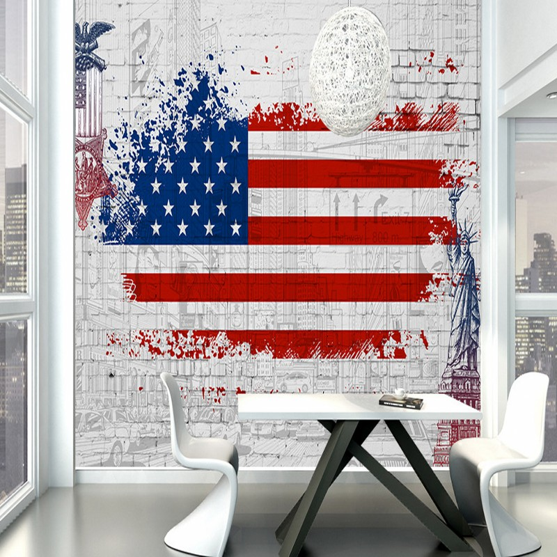 Us 16 25 38 Off Custom Photo Wallpaper Retro American Flag Graffiti Background Wall Mural Living Room Restaurant Balcony Cafe In