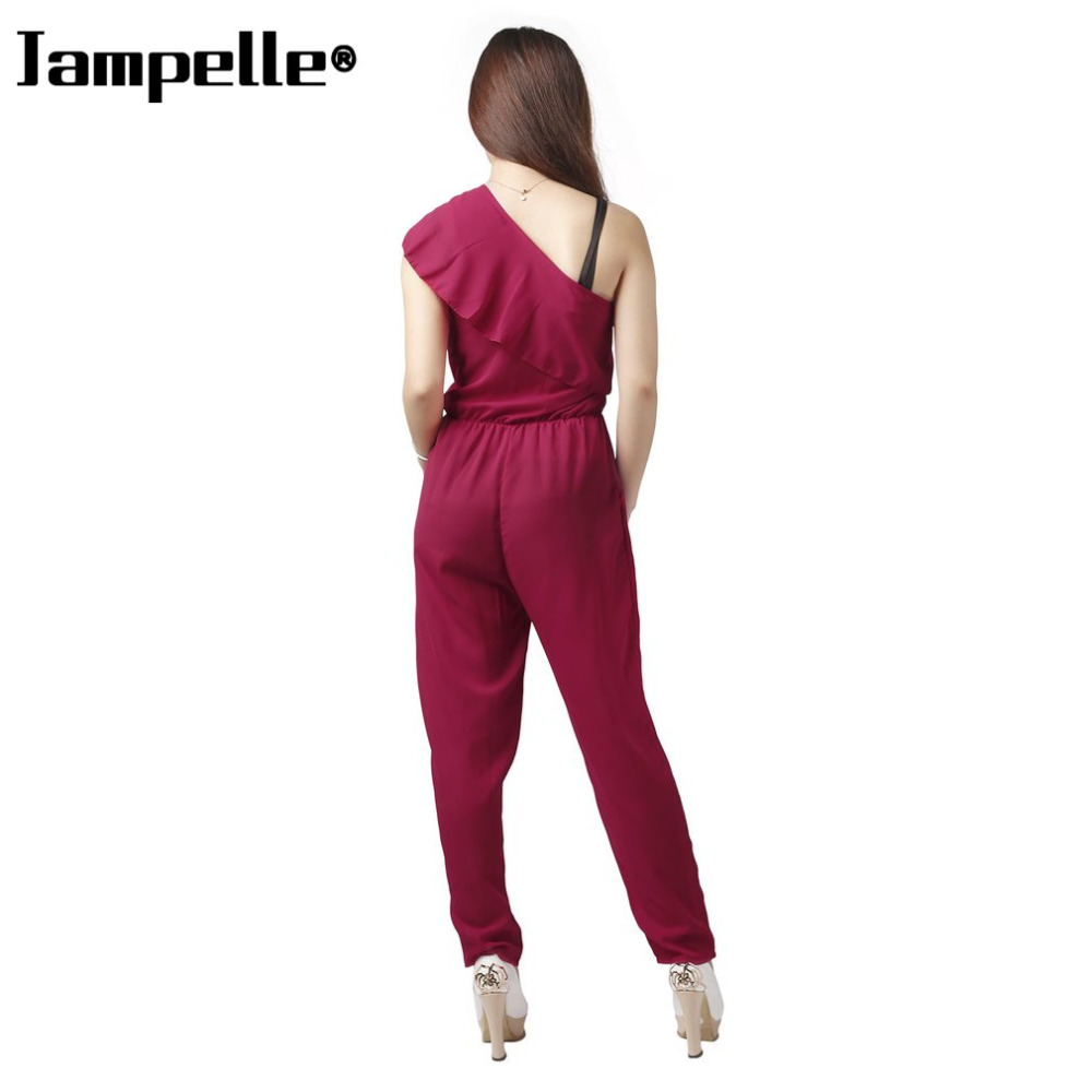 Jumpsuits Summer Sexy Women Oblique Jumpsuits One Shoulder Chiffon Beach Ruffles Loose Blue Jumpsuit Casual Office Lady Loose Suits