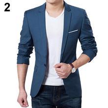 6dbb6d4ceae Moda hombre blazer ajustado otoño traje Blazer Formal negocios hombre traje  un botón solapa Casual manga