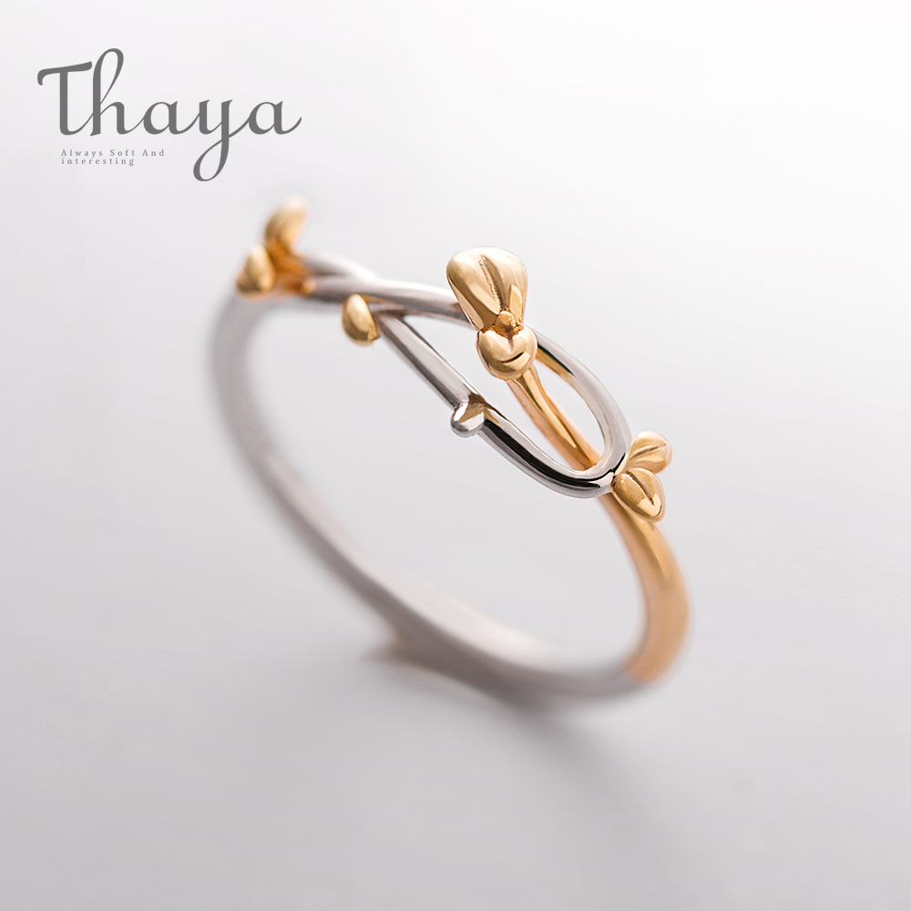 Thaya Gold Bud Ring Plant Leaf Buckle Adjustable Elegant Fine Jewelry Simply Beautiful Handmade For Women Girl Teen Gift