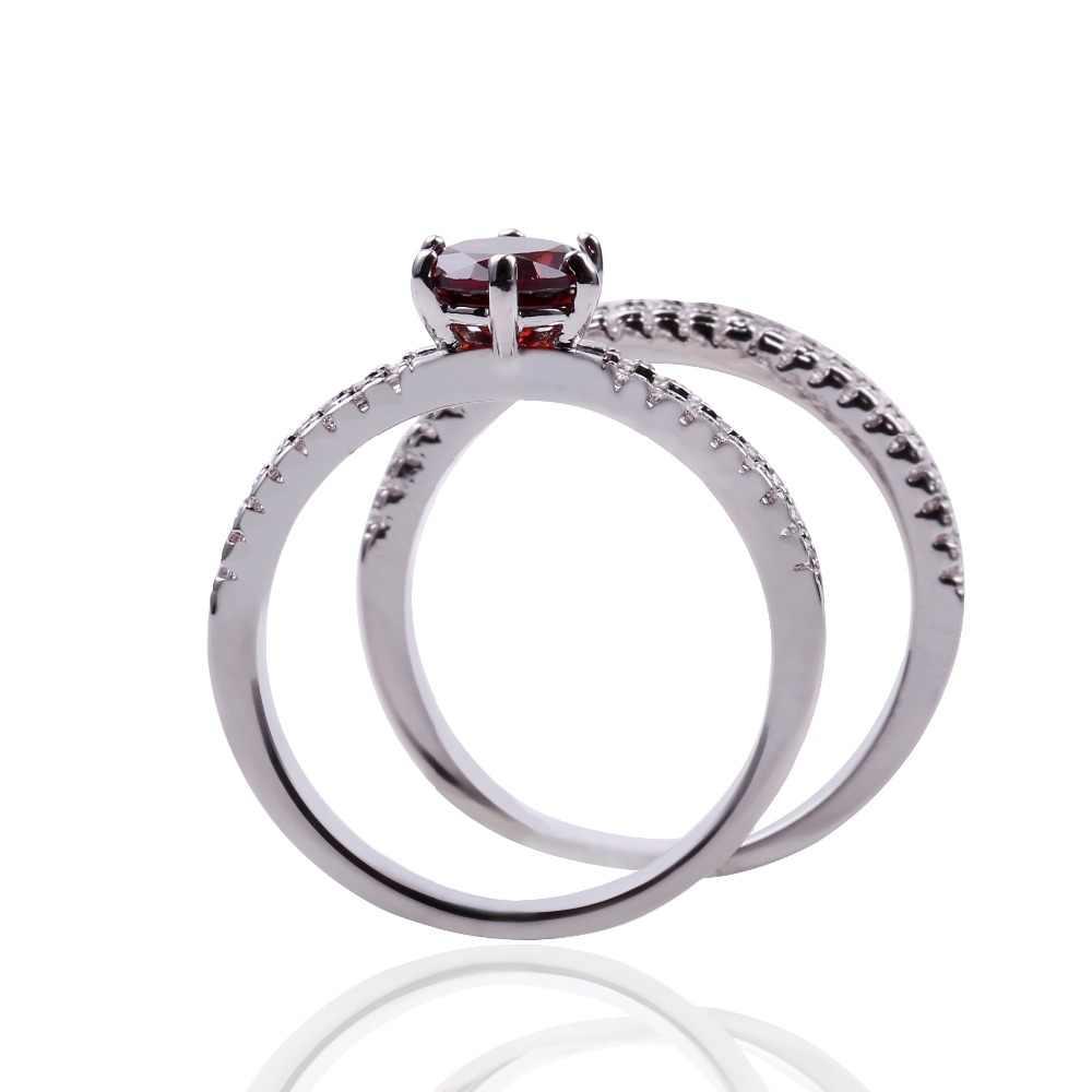 ความงามสีดำสีเงิน Micro Red White Zircon Pave การตั้งค่าชุดแหวนนิ้วมือสำหรับผู้หญิงงานแต่งงานสัญญาเครื่องประดับ